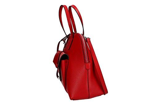 Borsa donna a mano con tracolla PIERRE CARDIN rossa pelle Made in Italy VN1463