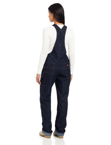 Dickies Women's Denim Bib Overall, Blue Denim, Small