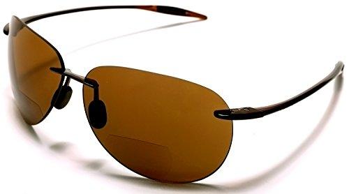 Samba Shades Maui Sports Pilot Bi-Focal Sun Readers Sunglasses Ultra Flex TR90 Brown +1.00