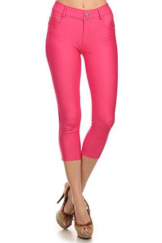 (Women's Stretch Capri Jeggings - Slimming Cotton Pull On Jean Like Cropped Leggings - Regular and Plus Size (Fuchsia, Medium) 817JN201FUSM)
