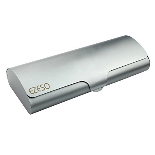 Aluminum Eyeglasses Case,EZESO Hard Shell Matte Elegant Slim Light Metal Frosted Spectacles For Small And Medium Frams (Grey)