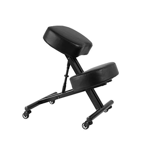 Sleekform Atlanta Kneeling Chair | Ergonomic Posture Correcting Knee Stool for Bad Back, Support, Neck Pain Relief, Computer Desk | Orthopedic Comfortable Faux Leather Cushions