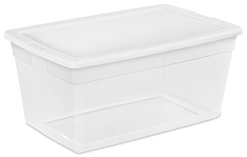 Sterilite 16668004 90 Quart/85 Liter Storage Box, Clear with a White Lid, 4-Pack (Tote Plastic Containers)