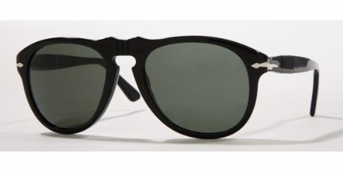 Persol 0649 Shiny Black Frame/Grey Polarized Lens Plastic Sunglasses, 54mm