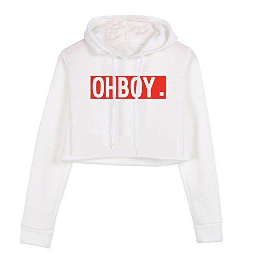 YITAN Women Long Sleeve Printed Letters Hoody Sweatshirt Pullover Girl Casual Crop Tops Hoodies White Mediun ()