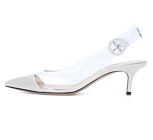 Sammitop Women's Pointed Toe Pumps Low Heel Shoes White Panelled Slingback Pumps US7