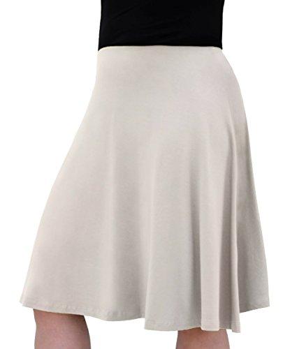 Kids/Big Girl's Knee Length Full A-Line Skater Skirt Extra Small Beige ()