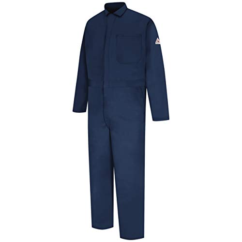 Bulwark Men's Flame Resistant 9 oz Twill Cotton Classic Coverall with Hemmed Sleeves, Navy, 52
