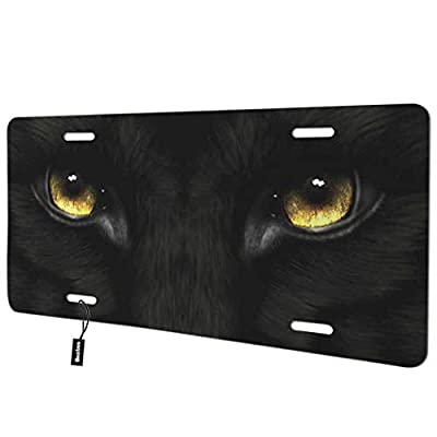 Beabes Black Panther Eyes Front License Plate Cover,Cool Animal with Golden Eyes Decorative License Plates for Car,Aluminum Novelty Auto Car Tag Vanity Plates Gift for Men Women 6x12 Inch: Automotive