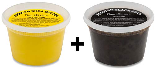Raw African Shea Butter Yellow and Black Soap 1 lb / 16 oz Each Combo Set Unrefined Grade A 100% Pure Natural From Ghana For Skin Body and Hair Growth. Aids Eczema, Psoriasis And Stretch Marks.