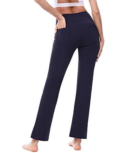 🥇 Sykooria Pantalones de Yoga Bootcut para Mujer Pantalón de Corte de Bota con Bolsillo de Cintura Alta Pilates Correr Baile Fitness