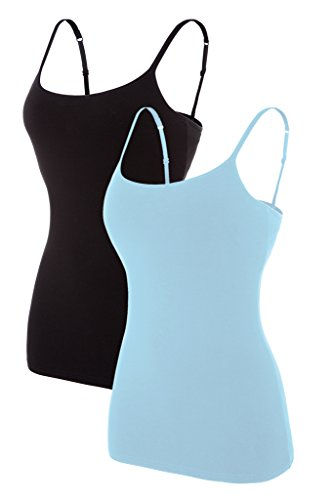 Sociala Cami Tank Tops for Women Built in Bra Cotton Camisole Pack Black Blue L ()