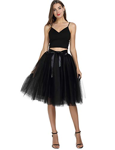 Womens High Waist Princess A Line Midi/ Knee Length Tutu Tulle Skirt for Prom Party Black  Free Size -
