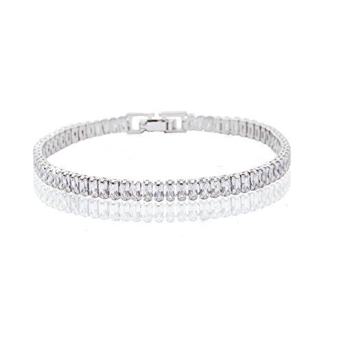 Crystal Silver Bracelet Sterling (MYKEA Women's Simple Elegant Tennis Bracelet 925 Sterling Silver with Sparkling Radiant Cut Crystal Swarovski Cubic Zirconia Jewelry for Women Girls Gift Idea)