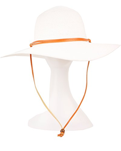 Women's Wide Brim Braided Sun Hat with Wind Lanyard Rated UPF 50+ Maximum Sun Protection (White) - Rated Lanyard
