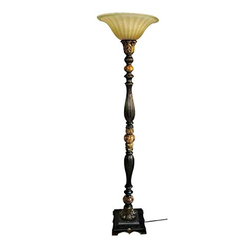 Portfolio Barada Bronze with Gold Highlights Torchiere Indoor Floor Lamp with Glass Shade, 72 in H