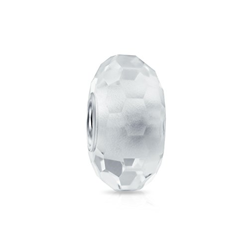 Faceted Translucent Murano Glass White Charm Bead For Women For Teen Fits European Bracelet 925 Sterling Silver
