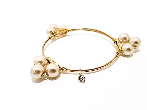 Gold Wire Stacking Pearl Cluster Bangle - Mix and Match - Champagne Color Swarovski Pearls - Wedding Jewelry