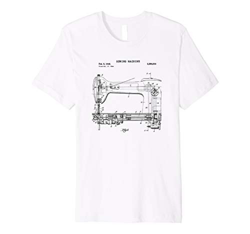 Vintage Sewing Machine Blueprint TEE SHIRT Knitting Tee