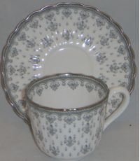(Spode Spode Fleur De Lys-Grey Flat Cup & Saucer Set (Imperfect))