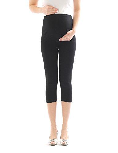 Femme Pantalon maternité enceinte-Legging grossesse Capri 3/4 leggings de Coton noir M