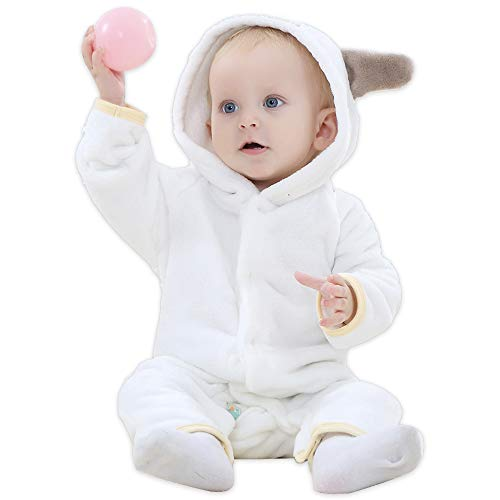 HALLO Baby Girls Boys Romper Bear Style Jumpsuit Outfit Hoody Coat Autumn & Winter Clothes Infant Rompers Toddler Clothing White 2-5 Months ()