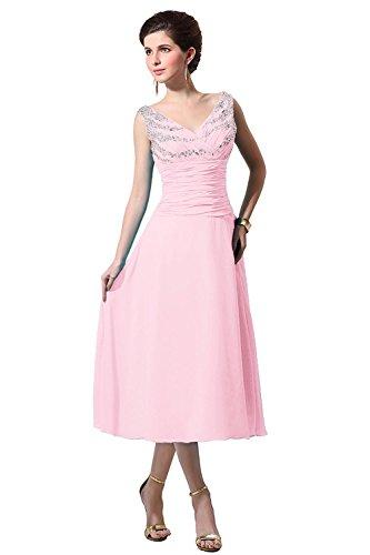 Neck Tea Mother of V Pink Bride The Length Dress Blushing Bess Women's Bridal Chiffon fSwBt