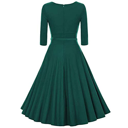 Heberry Women Dress Autumn Color Long Sleeve O Neck Belt Casual Mini Tank Dress Green