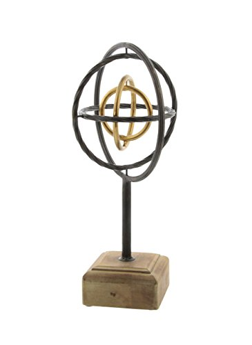 Deco 79 84240 Iron and Wood Armillary Sphere Sculpture, 14