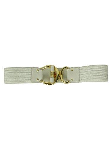 Lauren Ralph Lauren Women's Elastic Leather Trim Belt (L, (Ralph Lauren Belted Belt)