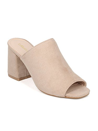 Chunky Heel Slide - Indulge Women Block Heel Mule - Peep Toe Chunky Heel Slide - Open Toe Slip On Heel Sandal - CIARA-10 by Heart.Thentic Collection - Beige Faux Suede (Size: 8.0)