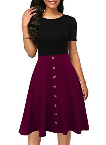 Berydress Women's Short Sleeve Colorblock Button Down Sundress Knee-Length Flared A-Line Casual Party Swing Dress (L, 6091-7 BK+PP)
