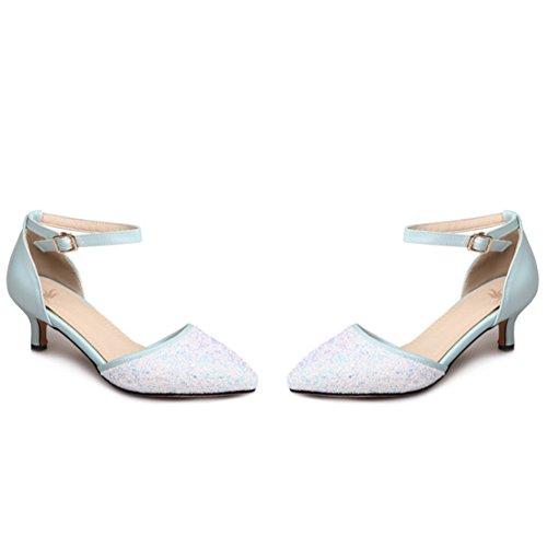 AIYOUMEI Damen Spitz Glitzer Kleinem Absatz Pumps mit 3.5cm Absatz Kitten Heel Modern Pailletten Schuhe Blau
