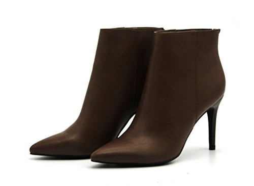 High Stiletto Boots Leather Zip Brown Women's Ankle Honeystore PU Booties nwRYCPx0qf
