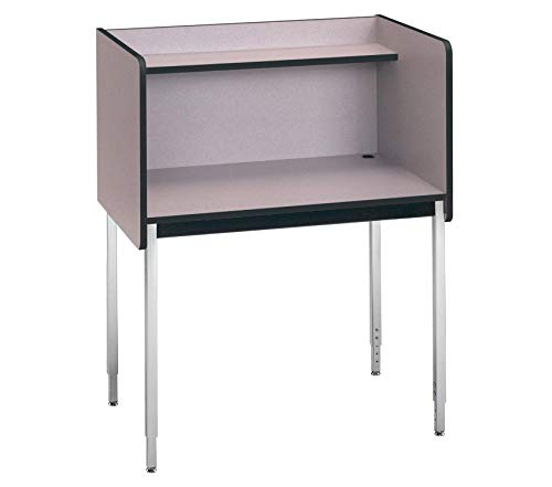 Wood & Style Furniture Fixed Ht. Single Modular Carrel Grey Nebula Premium Office Home Durable Strong