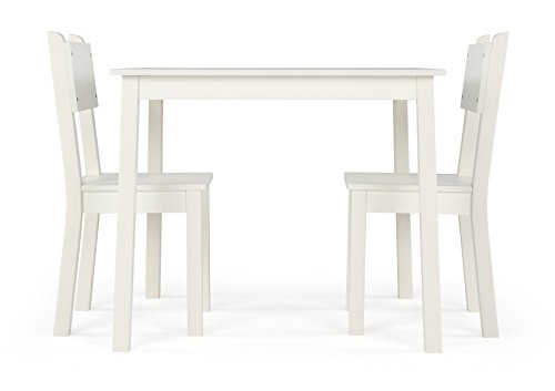 Curious Lion Wood Kids Table and 2 Chairs Set (White) by Humble Crew