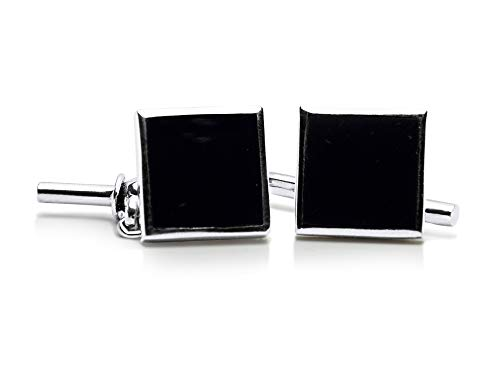 Sterling Silver Traditional Square Synthetic Onyx Cufflinks