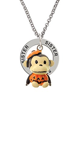 [Resin Monkey in Pumpkin Costume - Sister Affirmation Ring Necklace] (Sorority Sisters Costume)