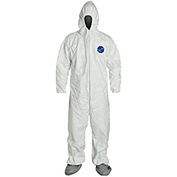 DuPont Tyvek 400 TY122S  Protective Coverall, Disposable, Elastic Cuff, Elastic Ankle, Attached Hood, Attached Boots, 2X-Large, (Pack of 1)