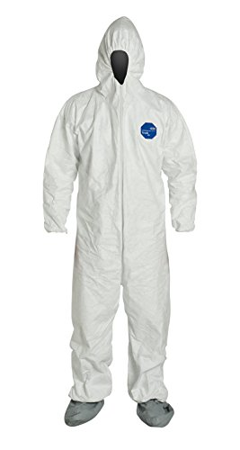 DuPont Tyvek 400 TY122S Individually Packed Disposable Protective Coverall with Elastic Cuffs, Attached Hood and Boots for PPE Vending Machines, White, X-Large