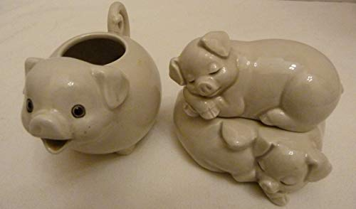 Fitz and Floyd Vintage 1977 Pigs in a Poke Figural Sugar Pot & Creamer Set Made in Japan (Japan Figural)