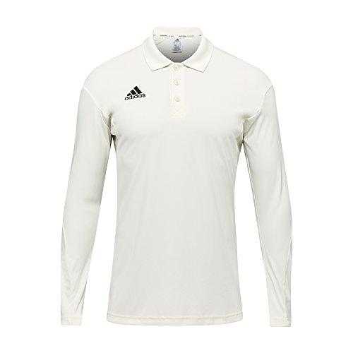 Long Sleeve Cricket - adidas Howzat Long Sleeve Kids Cricket Whites Polo Shirt - 9-10 Years