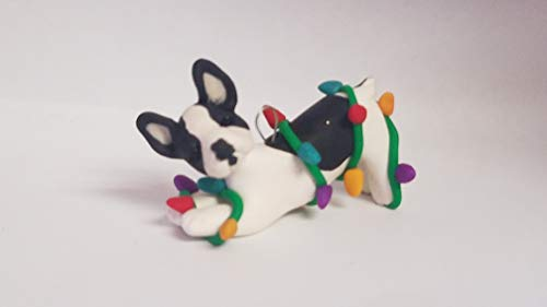 French Pied Bulldog (FRENCH BULLDOG ORNAMENT PIED BLACK/WHITE tangled lights Hand Made OOAK)