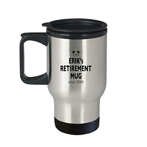 - In Retirement Travel Mug For Men - Erik - BB92 - Insulated Tumbler Gift Coffee Tea Cup Novelty Stainless Steel With Handle And Lid Non-Spill 14 Oz