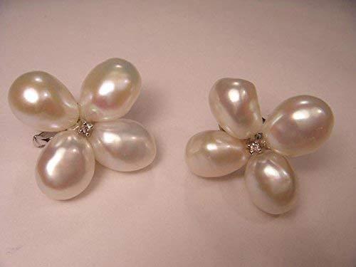 Magnificent Estate 14K White Gold Potato Baroque Pearl Diamond Floral Earrings ()