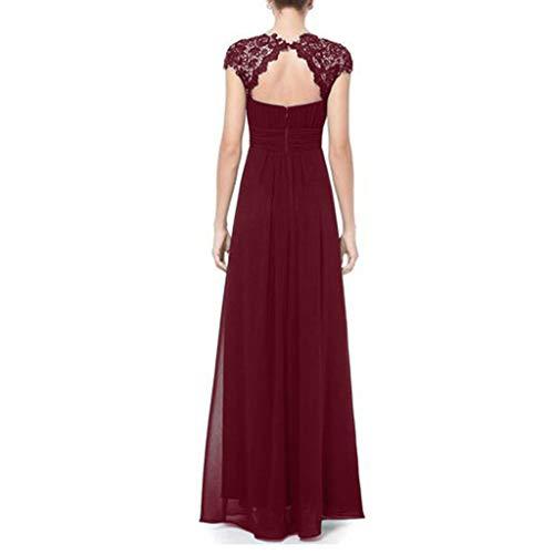 manica formale vino floreale Donna matrimoni lunghi da abito sposa pizzo corta Abiti Modaworld per Elegante Maxi in da rosso festa sottile Bq8wxW7HF
