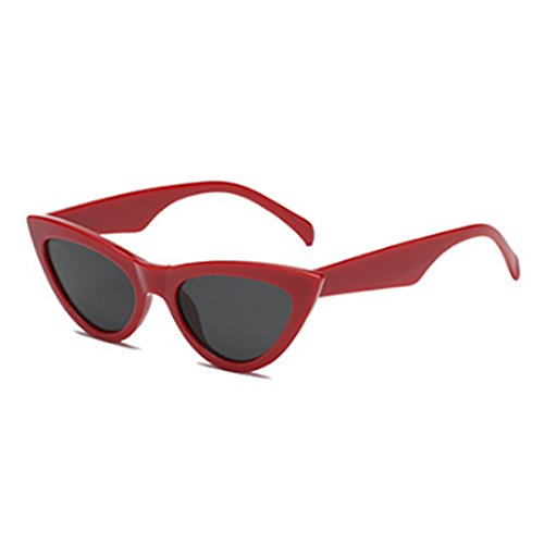Cat Mujeres Frame Eyewear Rojo Gris Pequeñas Inlefen Vintage Goggles Plastic sunglasse Eye Retro vZBxdqX