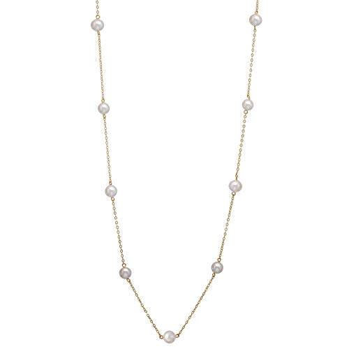 14K Yellow Gold Tin Cup Chain Necklace Genuine Freshwater Cultured Pearl Jewelry for Women 18