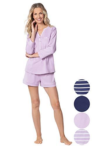 Addison Meadow Womens PJs Cotton - Pajama Shorts, Lavender, Small / 4-6 ()