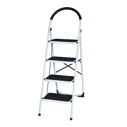 GOOD LIFE EN131 Folding 4 Step Ladder Home Depot Steel Step Ladders Lightweight 300 lb Capacity with Hand Grip Anti-slip and Wide Pedal HMI094 by GOOD LIFE USA